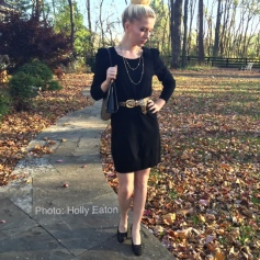 Vintage black frame bag, brocade shoes, belt, & necklace dress up a current Juicy Couture sweater dress.